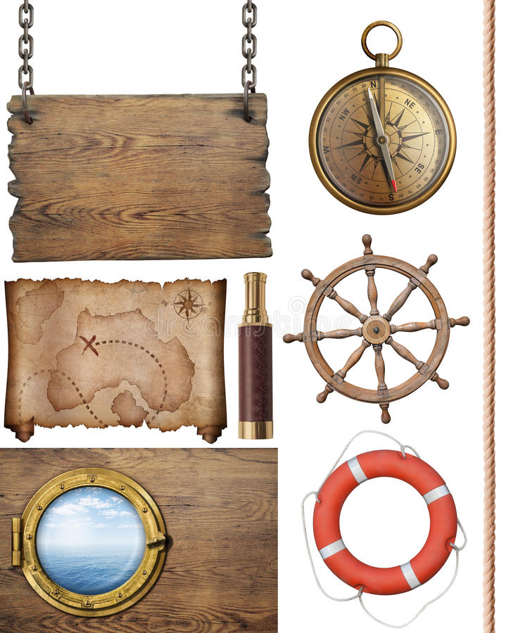 海盗被隔绝的珍宝地图和其他船舶对象3d例证 向量例证