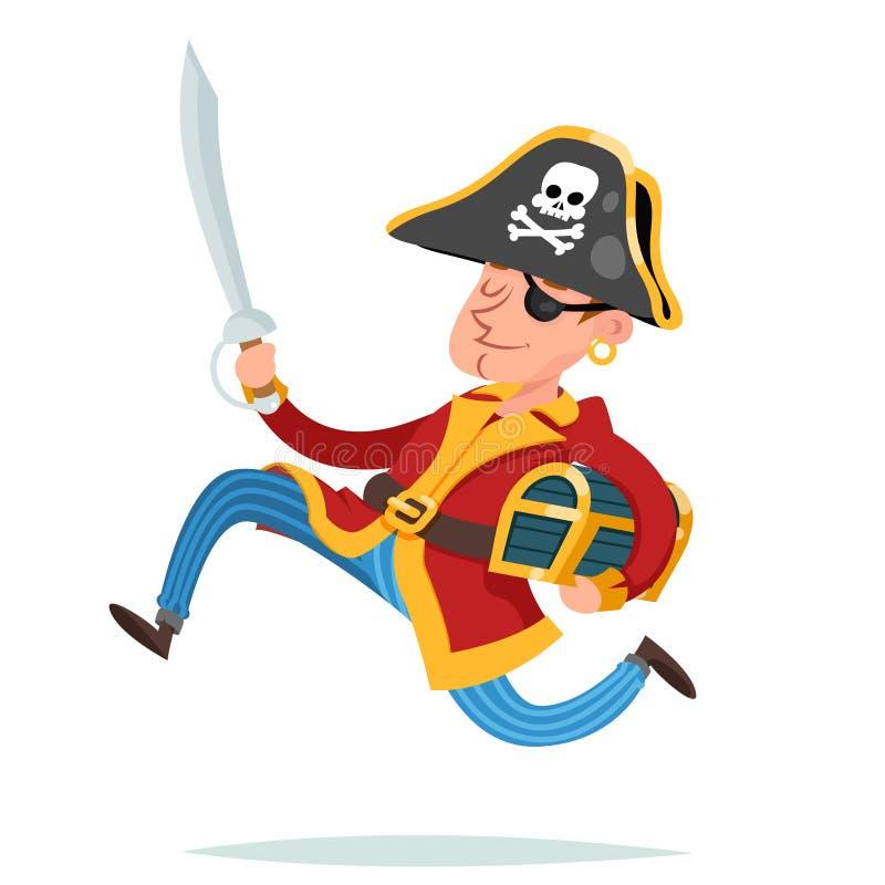 海盗跑掉与宝物箱动画片设计传染媒介例证的上尉字符 皇族释放例证
