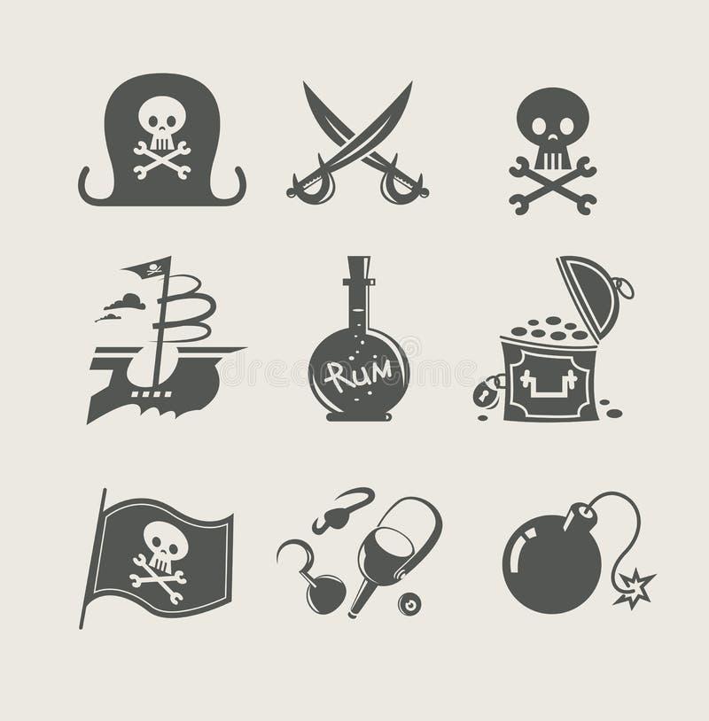 海盗辅助部件套图标 向量例证