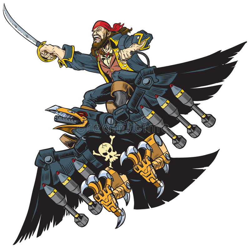 海盗骑马机器人乌鸦或掠夺传染媒介动画片例证 库存例证
