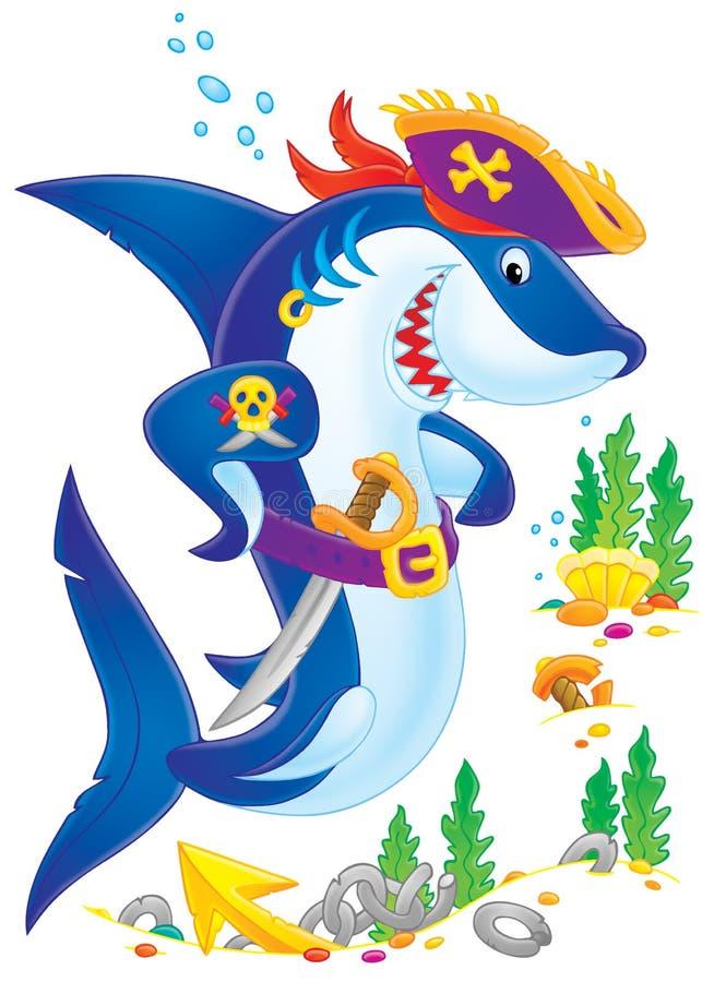 海盗鲨鱼 向量例证