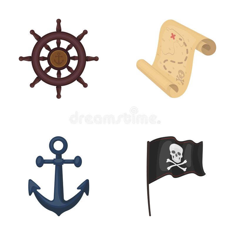 海盗,匪盗,船舵,旗子 海盗设置了在动画片样式传染媒介标志股票例证网的汇集象 库存例证
