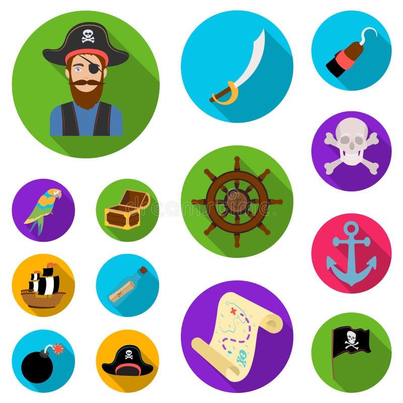 海盗,在集合汇集的海盗平的象的设计 珍宝,属性导航标志储蓄网例证 库存例证