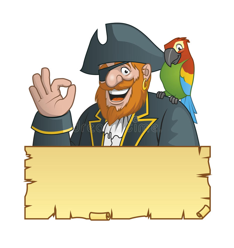 海盗,鹦鹉nad珍宝地图 向量例证