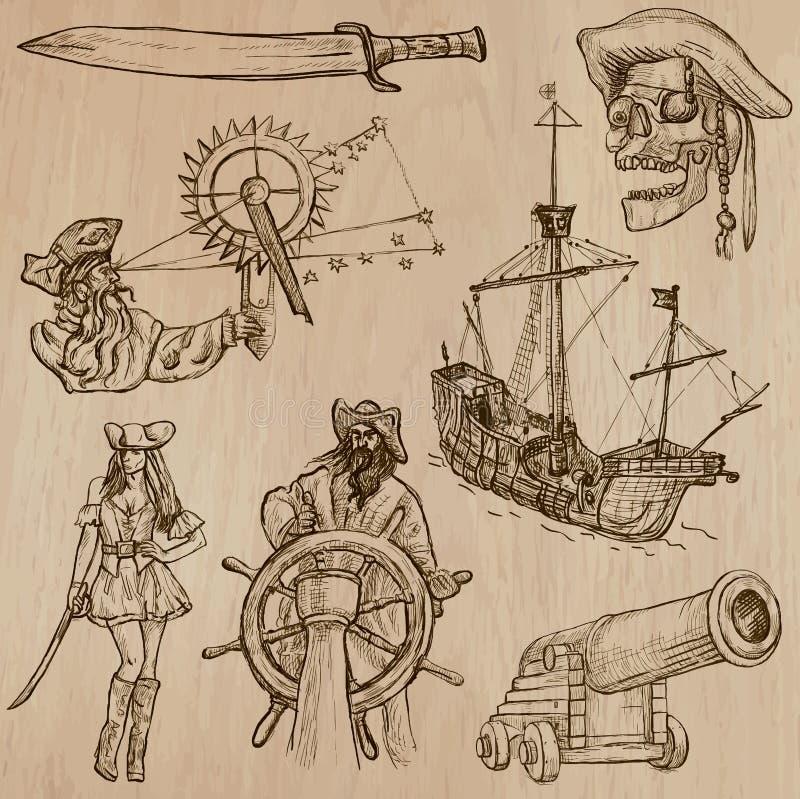 海盗-一个手拉的传染媒介组装 向量例证