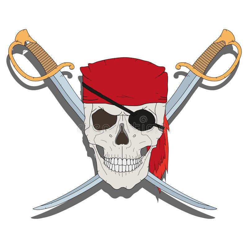 海盗头骨剑 库存例证