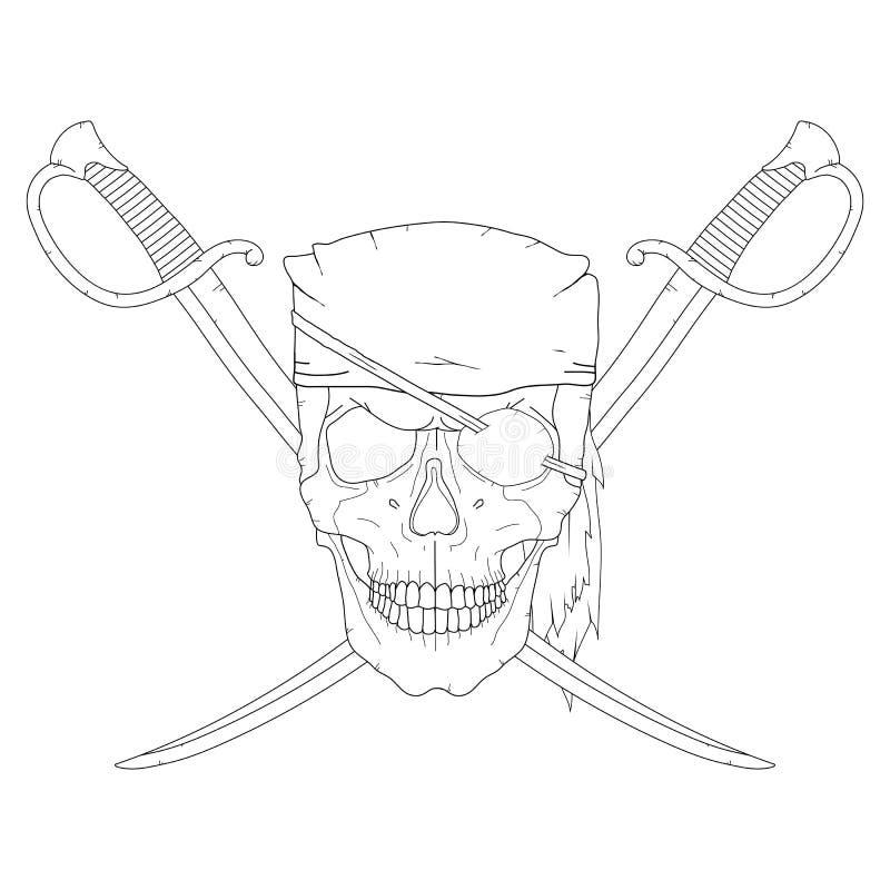 海盗头骨剑 向量例证