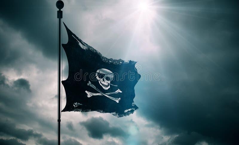 海盗头骨的被剥去的泪花难看的东西老织品纹理沙文主义情绪在风,白棉布起重器在多云天空的海盗标志与太阳镭 免版税库存图片