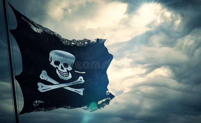 海盗头骨的被剥去的泪花难看的东西老织品纹理沙文主义情绪在风,白棉布起重器在多云天空的海盗标志与太阳镭 图库摄影