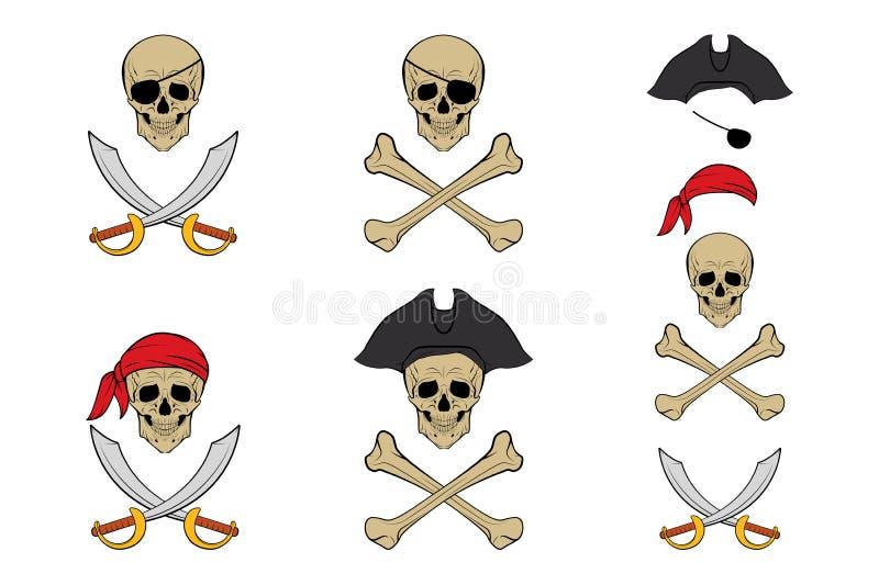 海盗头骨集合 传染媒介设计模板 皇族释放例证
