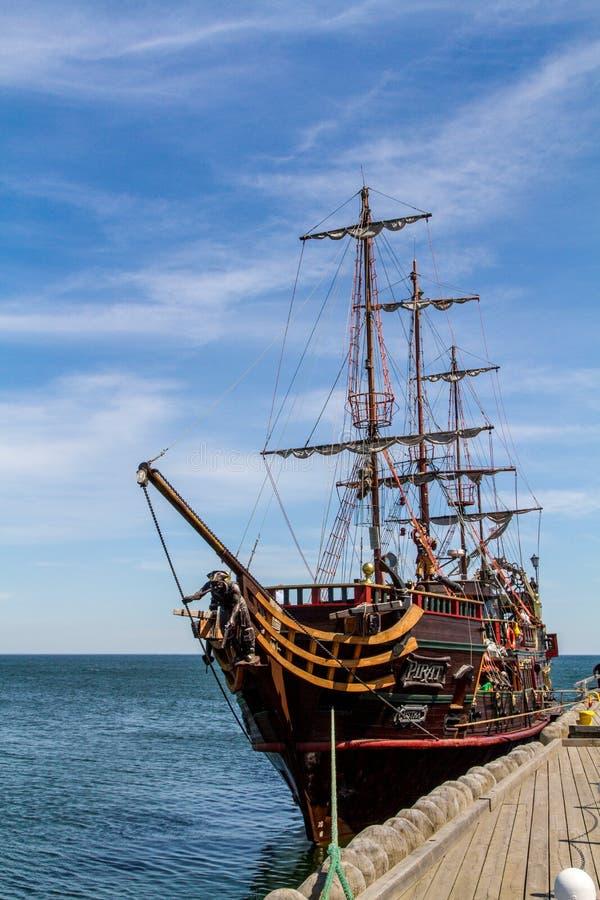 海盗galleon在索波特 库存照片