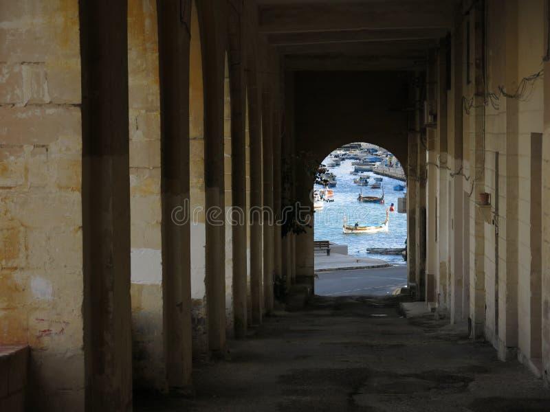 海看法在瓦莱塔 免版税图库摄影