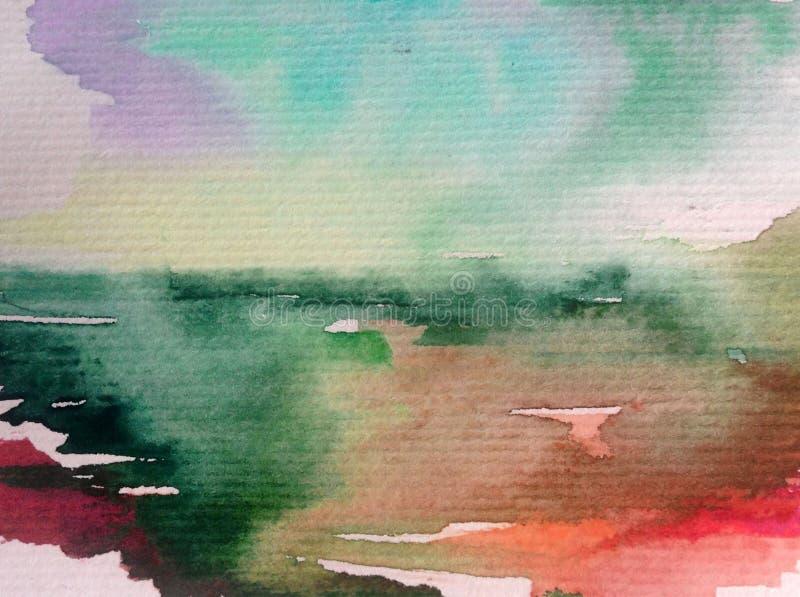 手工制造水彩摘要明亮的五颜六色的质地的背景 海水和水下的世界绘画  库存例证