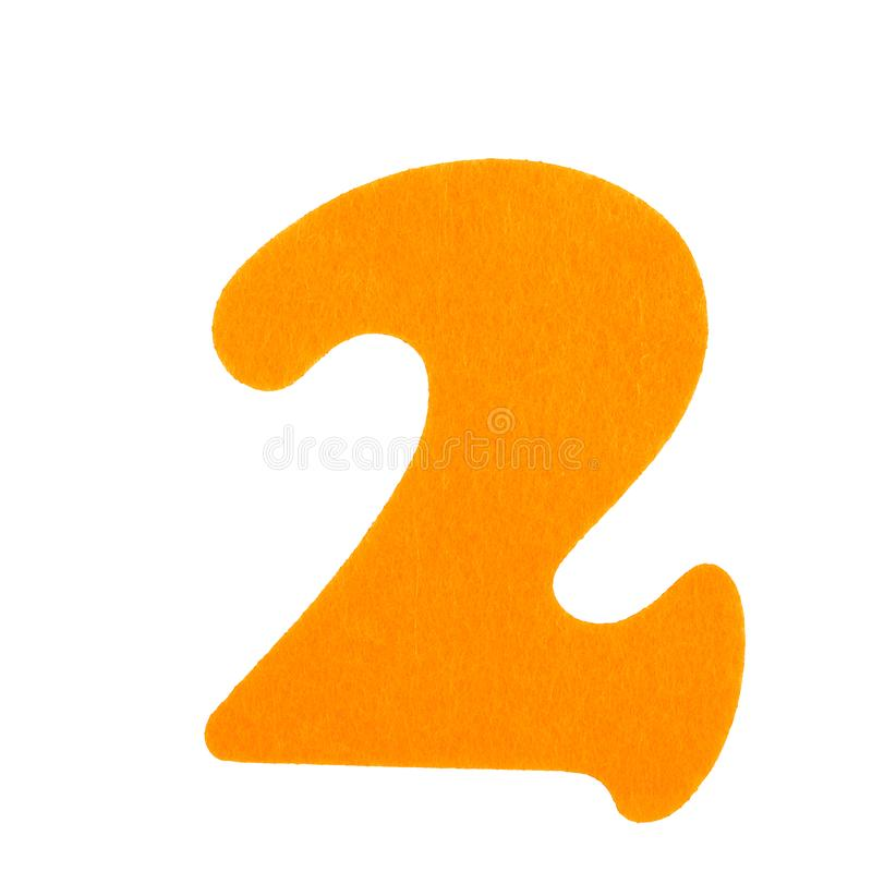 海绵在白色背景隔绝的黄色海绵字体第二  库存照片