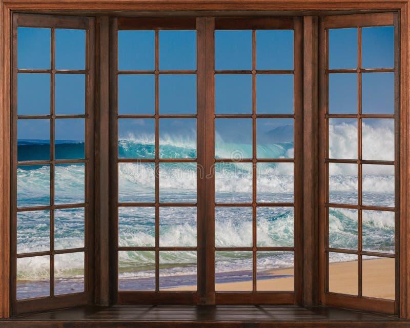 海美丽的景色从窗口的 与波浪的放松的声音的窗口视图 库存例证