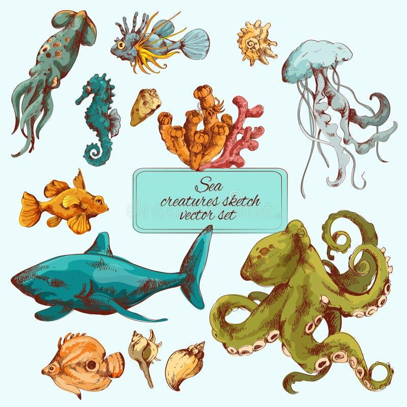 海色的生物剪影 向量例证