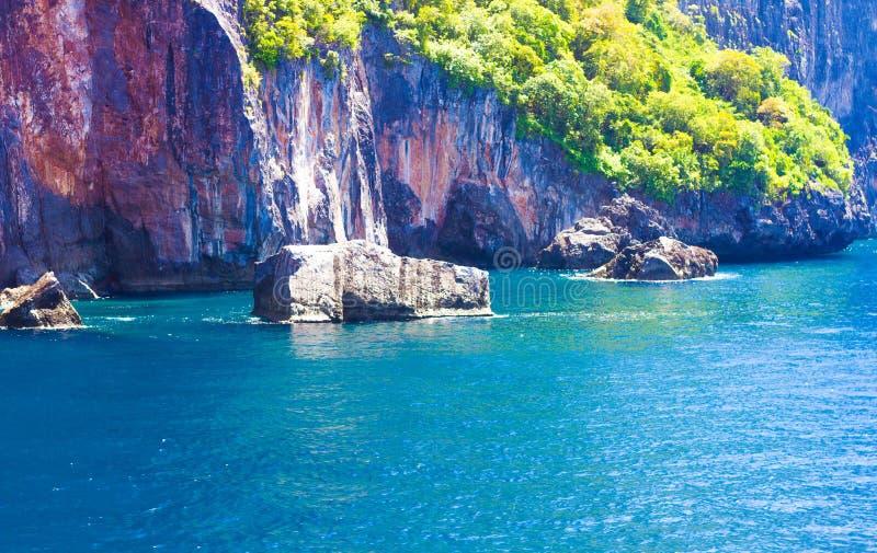 海蓝色山自然美好的水源运行 免版税库存图片