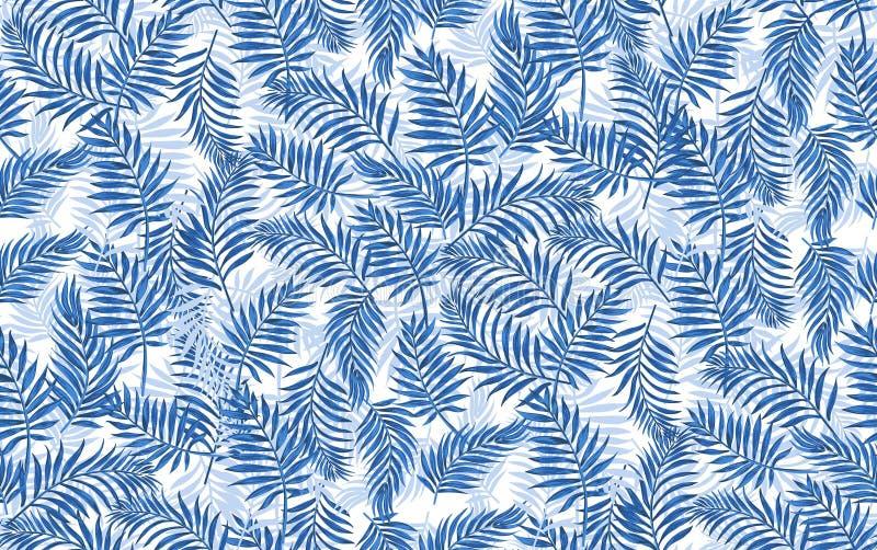 海蓝色无缝的传染媒介热带样式棕榈叶子和淡色黄色花 库存例证