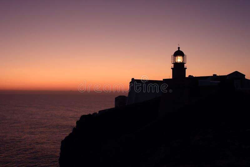 海角圣文森灯塔在萨格里什,阿尔加威,葡萄牙 库存照片