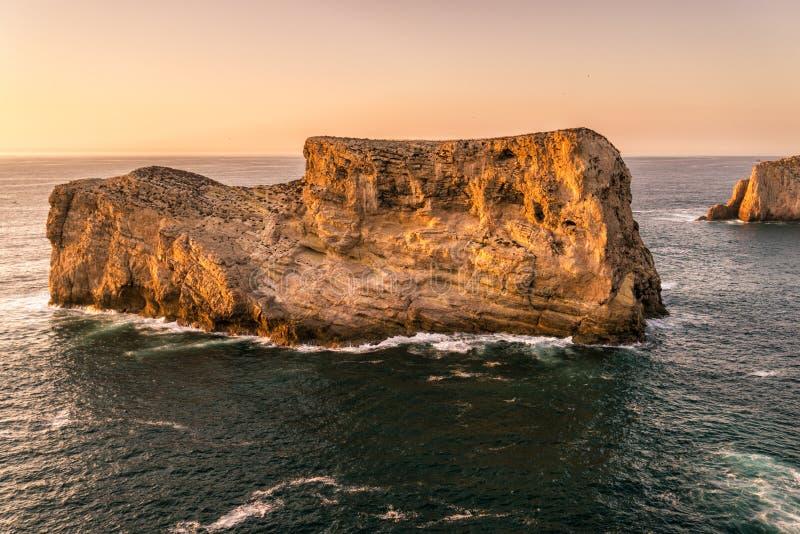 海角圣文森特海岸线的坚固性峭壁在日落的 在拉各斯附近,葡萄牙的阿尔加威地区 免版税库存照片