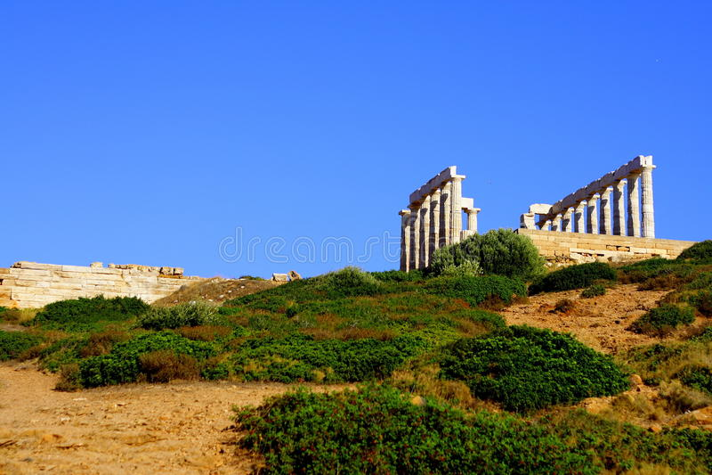 海角希腊sounion 免版税库存照片