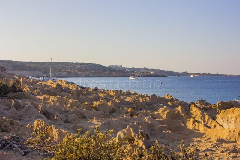 海角日落的格雷科塞浦路斯 库存图片