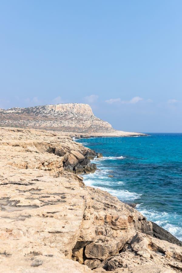 海角格雷科,Ayia Napa,塞浦路斯海岸线  免版税图库摄影