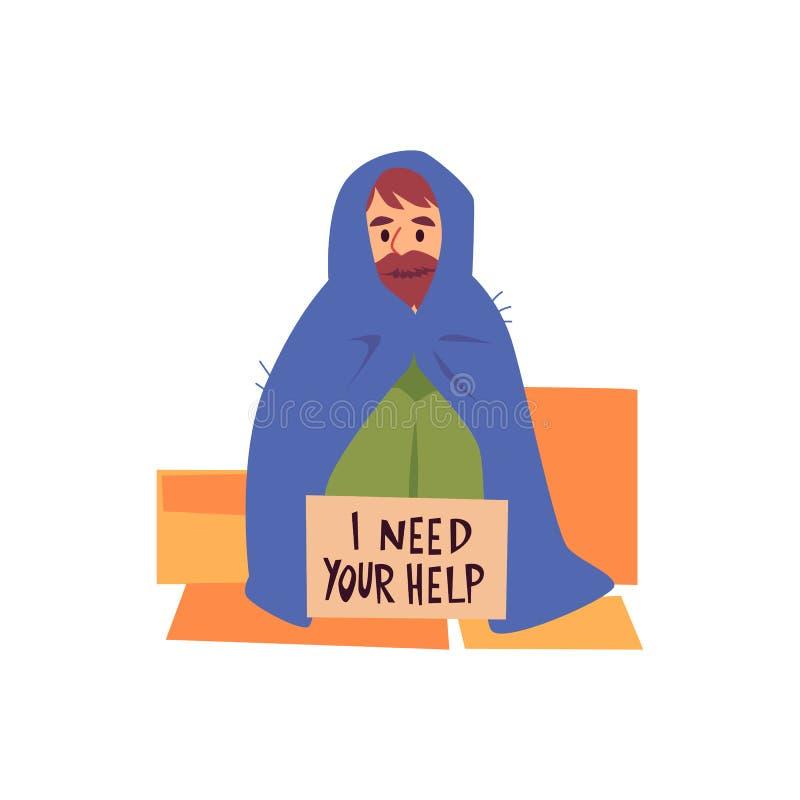 海角的要求无家可归的人坐纸板板料在帮助下标志动画片样式 库存例证