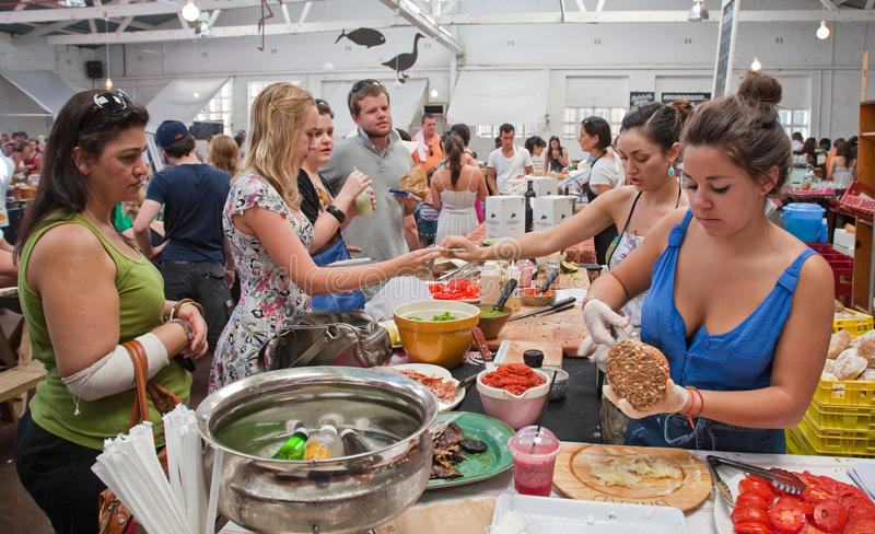 海角食物市场停转城镇woodstock 库存图片