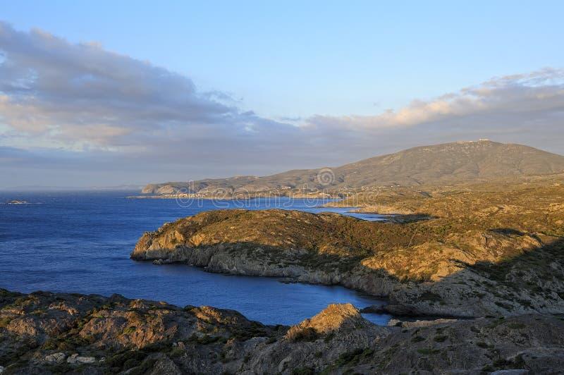 海角Creus (肋前缘Brava、卡塔龙尼亚,西班牙) 免版税库存照片