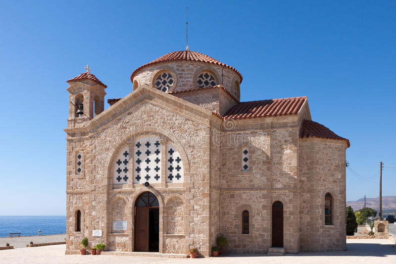 海角DEPRANO, CYPRUS/GREECE - 7月23日:贴水乔治斯教会  免版税图库摄影