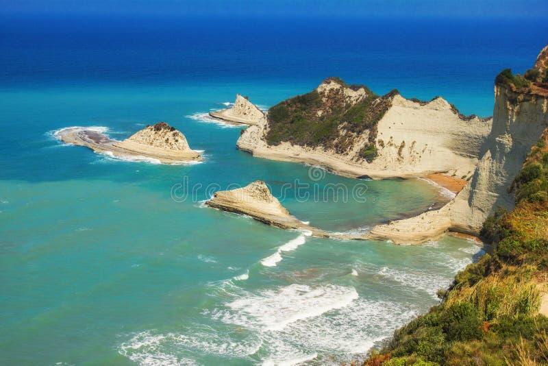 海角Drastis,科孚岛,希腊 免版税图库摄影