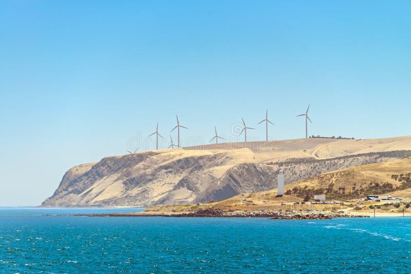 海角Jervis风车和灯塔 免版税库存照片