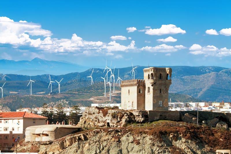 海角Morrocco。城堡圣卡塔利娜在塔里法角,安大路西亚西班牙 库存照片