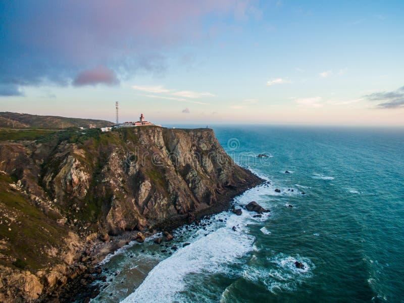 海角Roca,葡萄牙 从大陆欧洲边缘的看法  库存图片