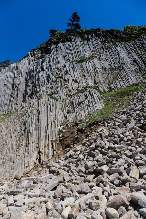 海角Stolbchaty 在Kunashi海岛的西海岸的海角  免版税库存照片