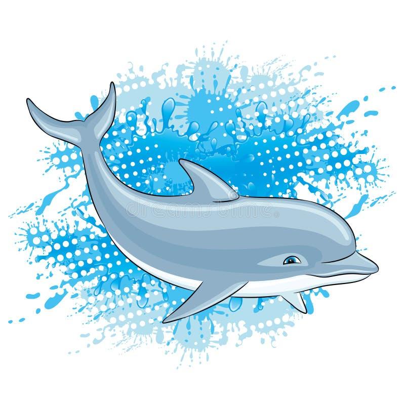 海豚和水飞溅 向量例证