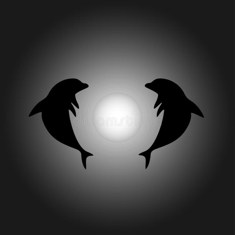 海豚夫妇剪影,海豚海报,海豚传染媒介,海豚设计,海豚圈子在白色月亮附近的 库存照片