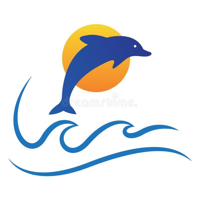 海豚海浪太阳海商标鱼标志传染媒介象设计 向量例证