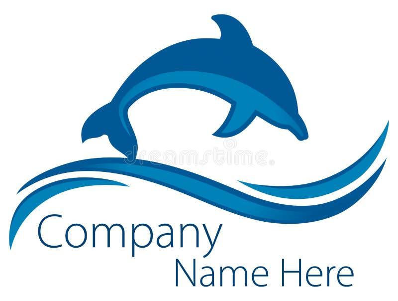 海豚海洋商标 库存例证