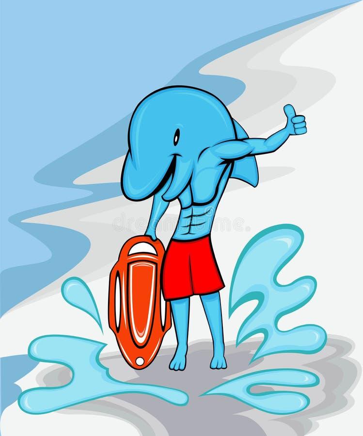 海豚海滩救生员 皇族释放例证