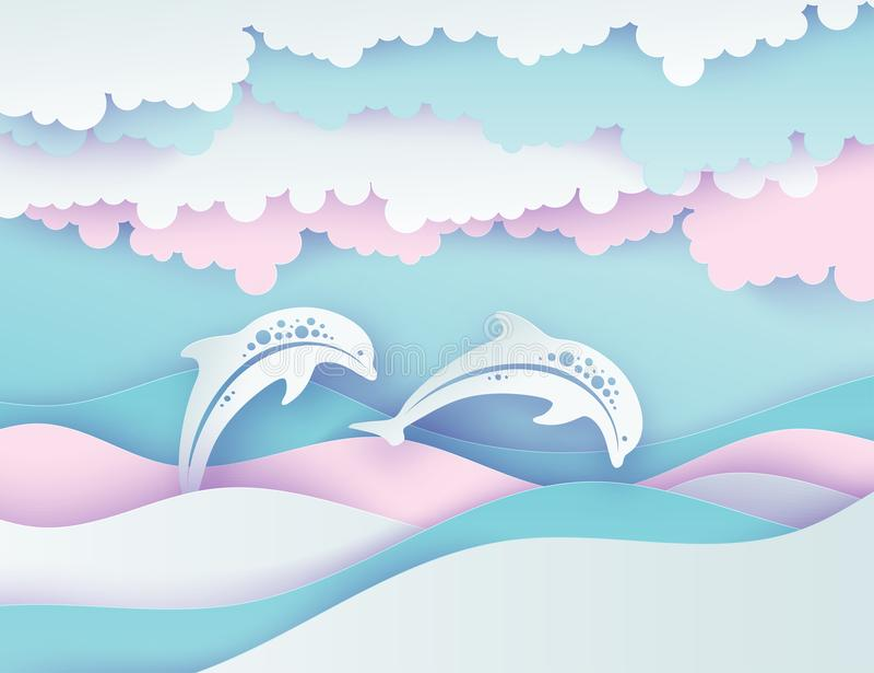 海豚纸海波浪和夫妇  纸被削减的深刻的样式vec 向量例证