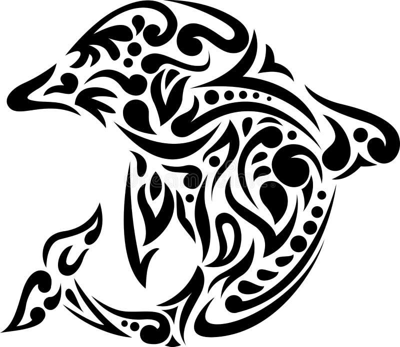 海豚纹身花刺 库存例证