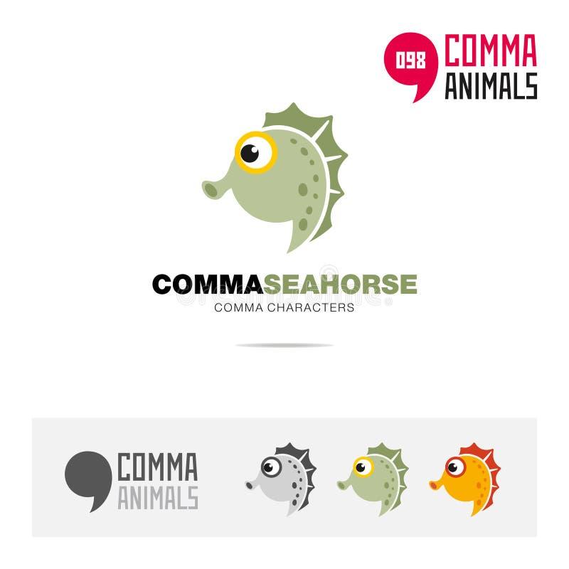 海象动物概念象集合和现代品牌身份商标模板和根据逗号的app标志签字 向量例证