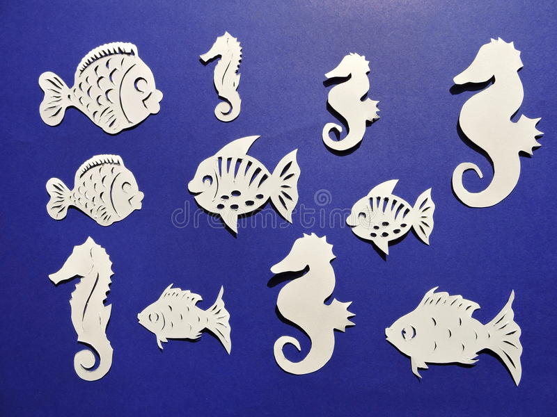 海象和鱼样式 纸切口 免版税库存照片
