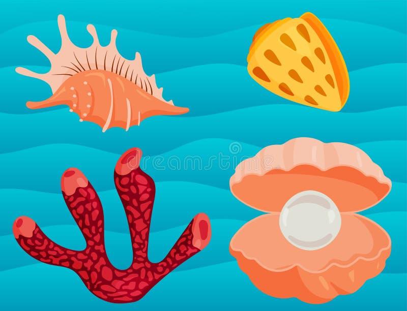 海轰击海洋动画片蛤壳状机件和海洋海星珊瑚传染媒介例证 向量例证