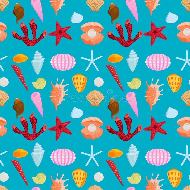 海轰击海洋动画片蛤壳状机件无缝的样式背景海洋海星珊瑚传染媒介例证 库存例证