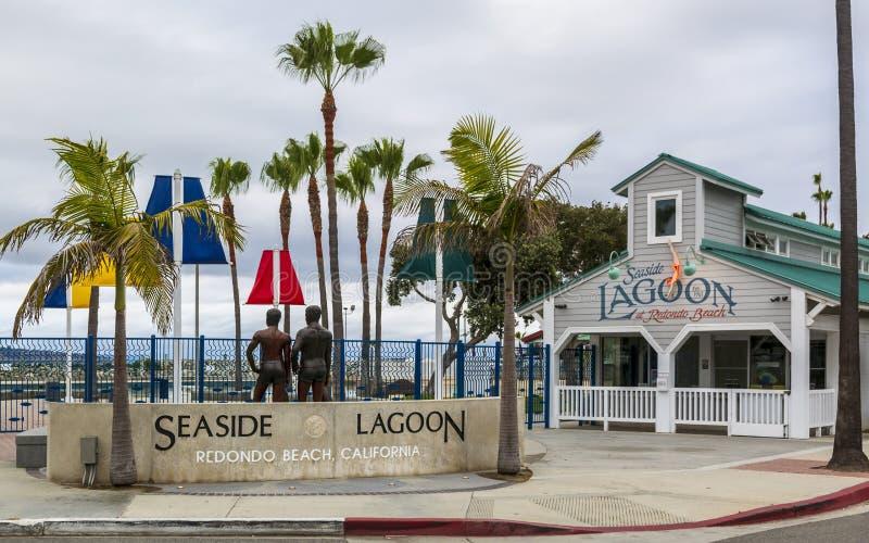 海边盐水湖,雷东多海滩,加利福尼亚,美国,北美洲 库存照片