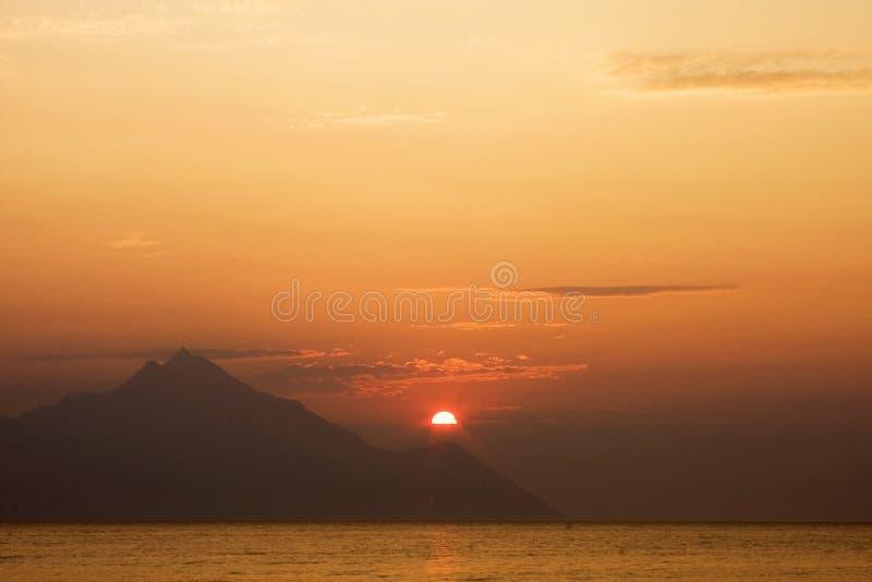 海边美好的日落lanscape 库存照片