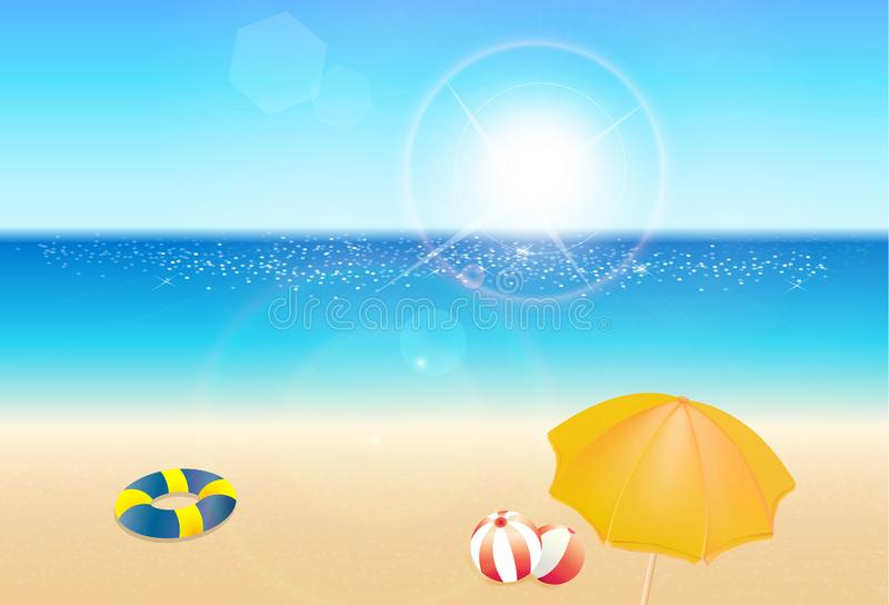 海边视图海报,美好的自然手段风景,暑假概念 库存例证